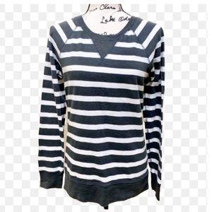 J CREW Striped Cotton Sweatshirt Sz M